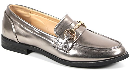Bucco Oxee Womens Fashion Vegan Leather Loafers Pewter