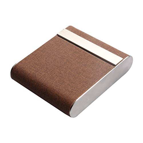 Cigarette Case Alloy Frame and Leather Cover Magnetic Flip Top Closure(Coffee)