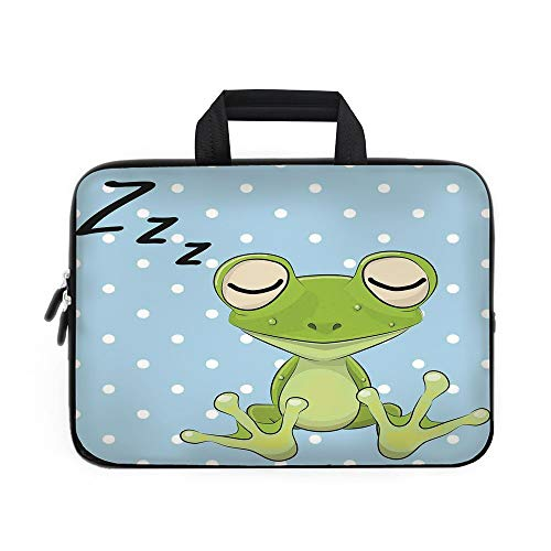 (Cartoon Laptop Carrying Bag Sleeve,Neoprene Sleeve Case/Sleeping Prince Frog in a Cap Polka Dots Background Cute Animal World Kids Home Decor/for Apple Macbook Air Samsung Google Acer HP DELL Lenovo A )