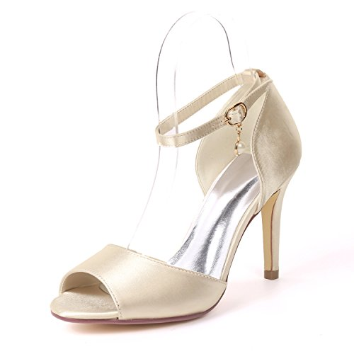 SHOELIN Womens Peep Toe Stiletto High Heel Satin Wedding Pumps Ankle Strap with Pearl Champagne