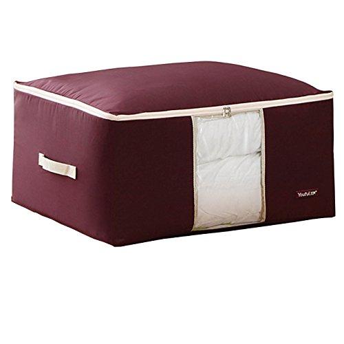 Oululu Oxford Bolsa de almacenamiento para colcha manta ropa edredón, rojo vino, Large