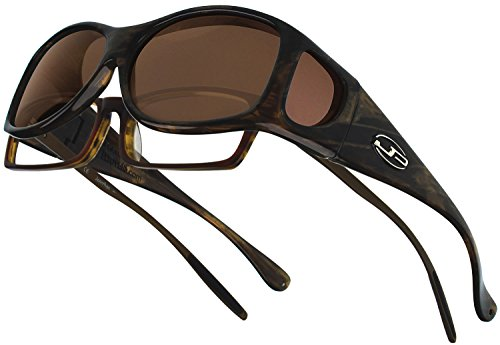 Swarovski Crystal Eyewear - Fitovers Eyewear Glides Sunglasses with Swarovski Crystals (Honey, Polarvue Amber)