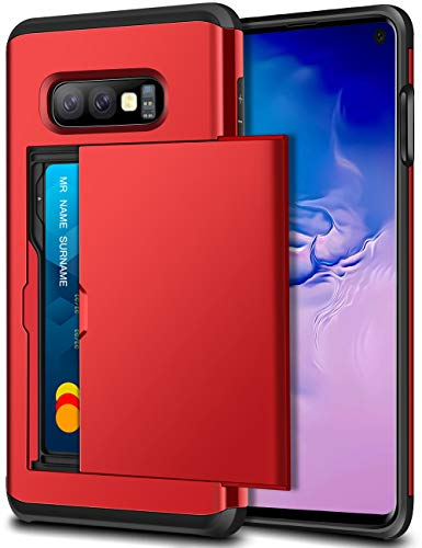 SAMONPOW Case for Galaxy S10e Case Hybrid Dual Layer Protective Shell Galaxy S10e Wallet Case Hard PC Soft TPU Bumper Credit Card Slot Cover for 2019 Samsung Galaxy S10e 5.8 inch Metallic Red