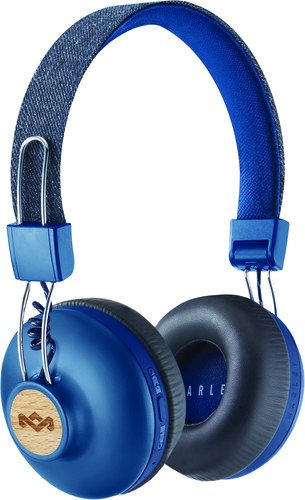 House of Marley, Positive Vibration 2 Wireless Headphones – Noise isolating In-Line 1-Button Mic on Cable, Removable Tangle-Free Cable, Long Battery Life, Foldable On-Ear Design, EM-JH133-DN Denim