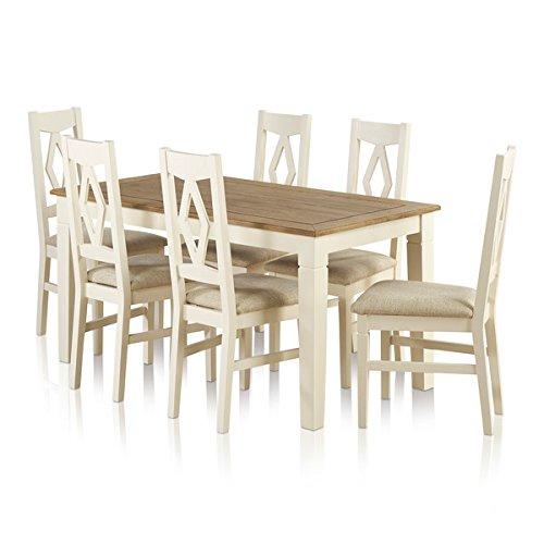 Oak Furniture Land Juego de Comedor Grande de Roble Pintado con ...
