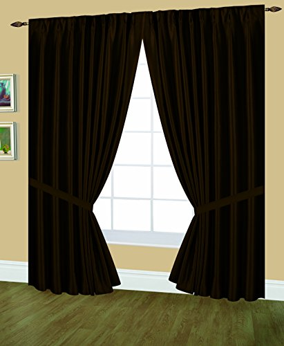 Editex Home Textiles Elaine Lined Pinch Pleated Window Curtain, 144 by 63-Inch, Chocolate