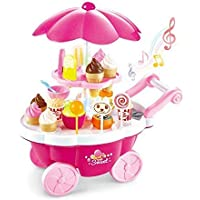 ANVIT Toy World Ice Cream Play Cart Kitchen Set for Girls Toys with Lights and Music