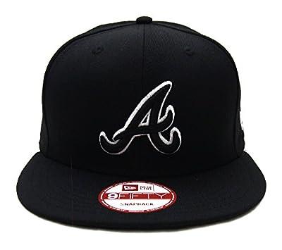 Atlanta Braves New Era Black Logo White Outline Snapback Cap Hat Black