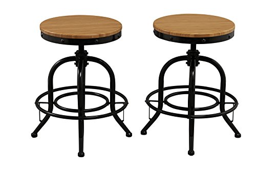 BTExpert Solid Pair Industrial Counter Height Bar Stool Adjustable Natural Bamboo Wood Top Metal Seat Swivel Barstool, 18
