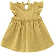 Niyage Baby Toddler Girls Cotton Flutter Sleeve Pleated Tunic Dress Swing Casual Playwear