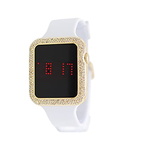 Techno Pave Iced Out Lab Diamond Square Gold Digital Touch Screen Sports Watch with White Silicone (Iced Out Square Watch)