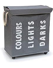 Hausratplus 3 tvättsorter på hjul tvättkorg tvättkorg grå