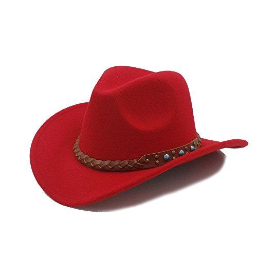 Wool Felt Western Cowboy Hat for Womem Men Wide Brim Cowgirl Braid Leather Band (Red)
