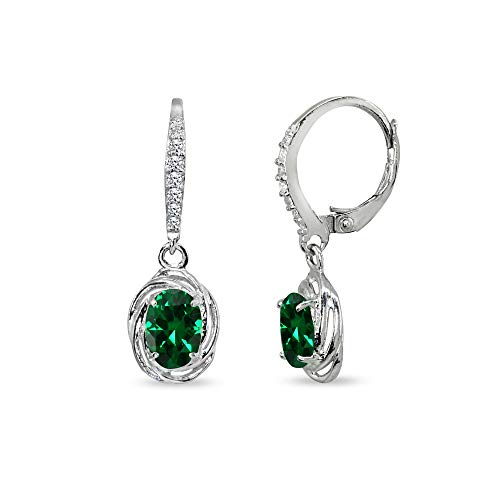 - Sterling Silver Simulated Emerald & Cubic Zirconia 7x5mm Oval Love Knot Leverback Earrings