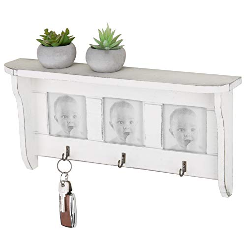 MyGift Vintage White Wood Wall-Mounted Display Shelf with 3 Picture Frames & 3 Key Hooks