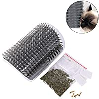 Yamii Cat Self Groomer Brush Catnip-Wall Corner Mounted Massage Grooming Comb-Helps Prevent Hairballs and Controls Shedding-Safe & Comfortable with Catnip (Grey)