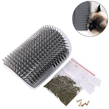Yamii Cat Self Groomer Brush Catnip-Wall Corner Mounted Massage Grooming Comb-Helps Prevent Hairballs and Controls Shedding-Safe /& Comfortable with Catnip Grey