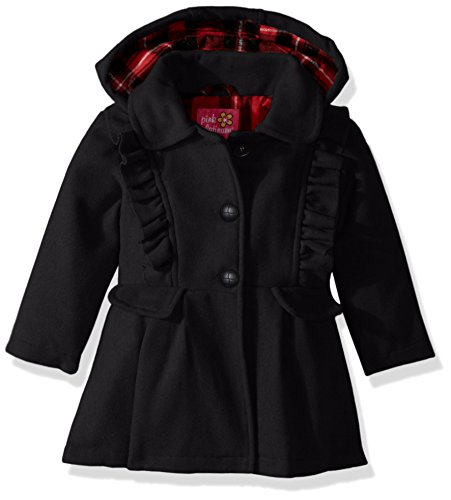 Pink Platinum Baby Girls Cute Ruffles Wool Jacket, Black, 12M ()