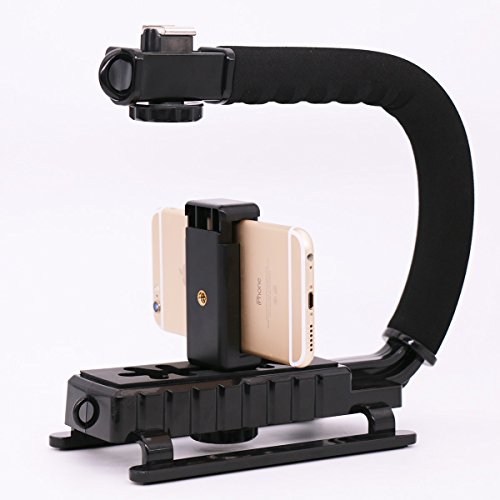 Video Action Stabilizing Handle Grip & Phone Tripod Mount for Canon Sony DSLR Camera,for iPhone 7 plus Cell Phone Smartphone (Scorpion Grip Filming)