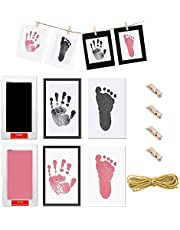 2 Sets Baby Footprint and Handprint Inkless Ink Pad,Baby Hand and Foot Prints Disposable Ink Souvenir, Comes with 1 Hemp Rope Length 2m,4 Wooden Clips ,4 Black and White Paper Photo Frames and 4 Imprint Card,for Baby Handprints and Footprints,Black and Pink