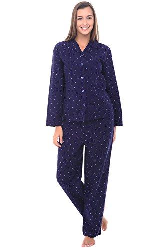 Del Rossa Women's Flannel Pajamas, Long Cotton Pj Set, Medium Blue with Purple Dots (A0509Q07MD)