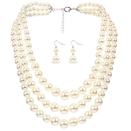 KOSMOS-LI Women's 3 Layer Simulated Ivory Pearl Necklace and Earrings Set