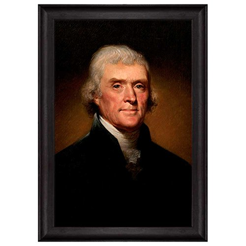 Kit Jefferson Thomas (wall26 - Portrait of Thomas Jefferson by Rembrandt Peale (3rd President of the United States) - American Presidents Series - Framed Art Print Modern Home Decor -)