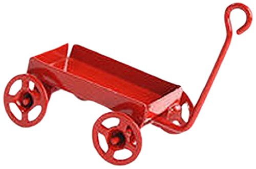 Timeless Minis - Miniature Red Toy Wagon with Red Wheels- 1.1875 x .6875 -