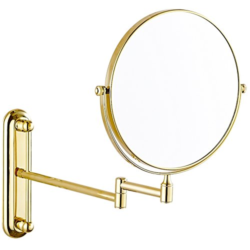 GURUN 10x Magnification Adjustable Round Wall Mount Mirror 8-inch Double Sided Makeup Mirrors,Gold Finish M1806J(8in,10x) by GURUN