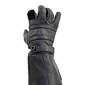 Real Leather Long Gauntlet Motorcycle Biker Riding Gloves - Extra Large