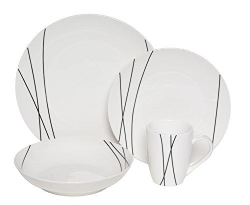 - Melange Coupe 16-Piece Porcelain Dinnerware Set (Lines Collection) | Service for 4 | Microwave, Dishwasher & Oven Safe | Dinner Plate, Salad Plate, Soup Bowl & Mug (4 Each)