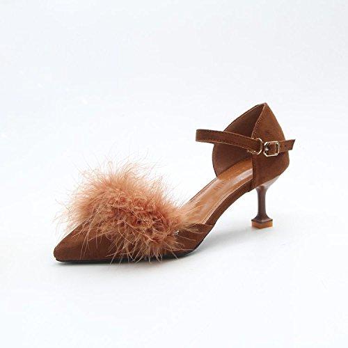 Minces Sandales Femmes Talons Pour Peluche En Des Marron 37 Et Vido Minces Boucle Avec Chaussures qZPr7q