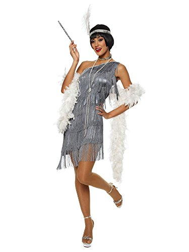 Womens Jazz Flapper Costumes (Dazzling Gun Metal Flapper Adult Costume Size Medium)