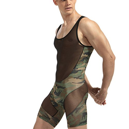 Livingly Light Men's Camouflage Tank top One Piece Wrestling Singlet Bodysuit Leotard Underwear, L (Suit Wrestling)