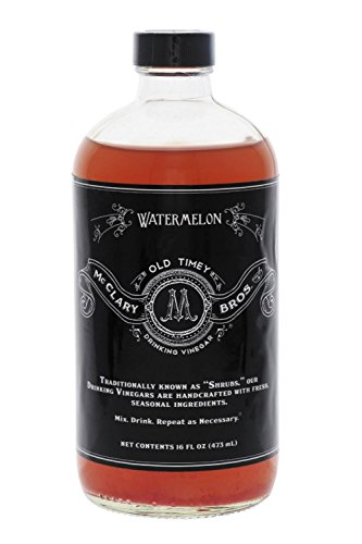 McClary Bros Drinking Vinegars, Watermelon - Hand-Crafted With Premium Ingredients, Ideal for Shrub Cocktails, Sodas and Cooking - Naturally Flavored Organic Apple Cider Vinegar, 16oz Bottle