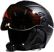Ski Snowboard Helmet 2-in-1 Visor Detachable Snow Mask Anti-Fog Anti-UV Integrated Goggle Shield Low Weight Ad