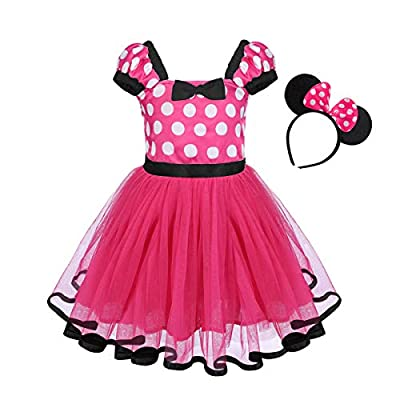 Girls Polka Dots Princess Dress up Costume with Ears Headband for Kids Baby Christmas Birthday Outfit Cosplay 1-5 Years: Clothing