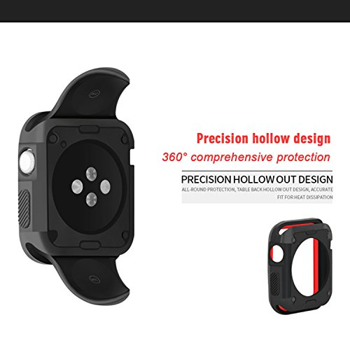 Morenitor for Apple Watch Case, 42mm Double Color Soft Silicone TPU Bumper Plating Protective Cover Case for Apple Watch iWatch Series 2 3 (Black and Red - 42 mm) by Morenitor (Image #3)
