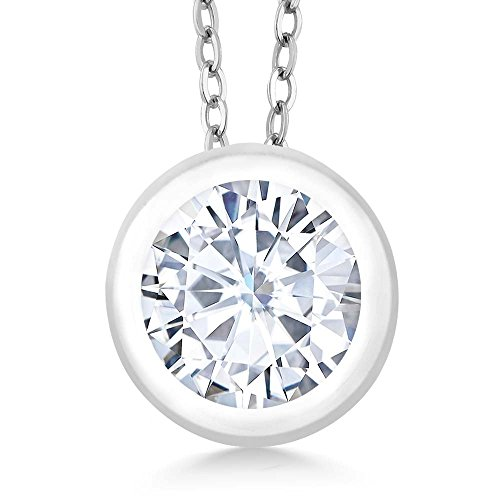 Bezel Round Moissanite Pendant - Charles & Colvard 0.80Ct Dew Moissanite 925 Sterling Silver Pendant With Chain