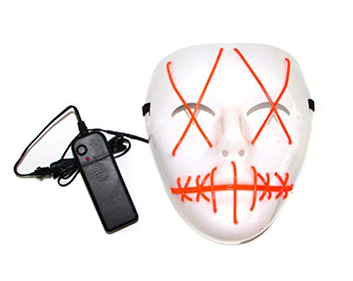 Halloween Party Horror EL Wire Cosplay Frightening Glowing Light Up Scary Mask]()