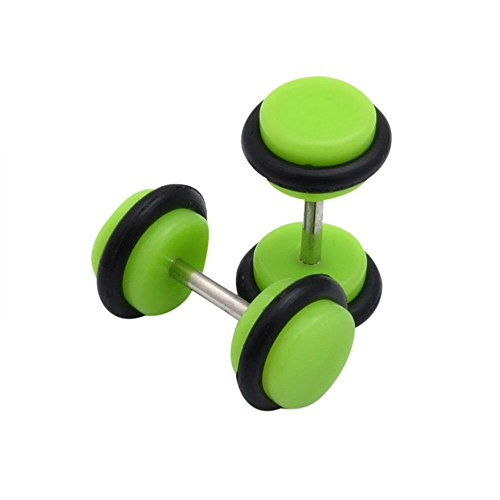 Orcbee  _2 x Acrylic Fake Cheater Ear Stretcher Expander Plug Tunnel Barbell Earrings (Green)