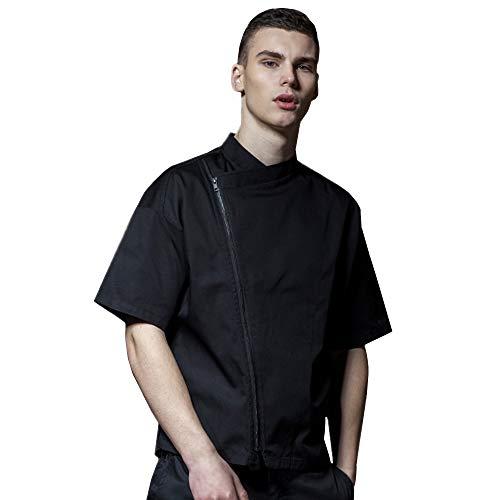 Men's 1/2 Sleeve Korean Style Chef Jacket Single Side Zipper Loose Chef Coat Black