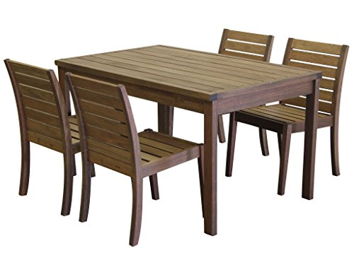 Timbo Vila Rica Hardwood Outdoor 4 Seat Patio Dining Set with Rectangular Table & 4 Chairs no Arms, Dining Set, Brown