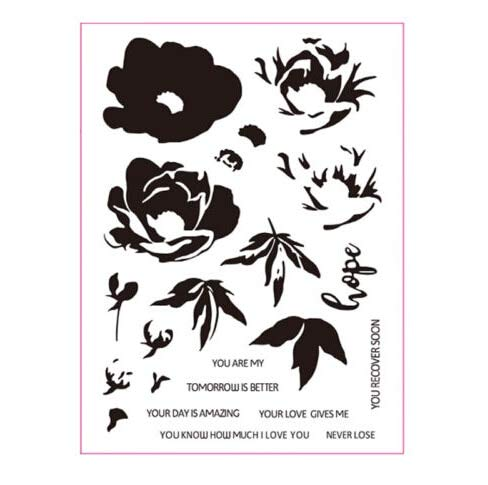 Hope Transparent Floral Clear Silicone Stamp Seal Photo Album Decorative Card Making Stamps - Stamps