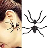 smallwoodi Black Spider Earrings Personality Double-Sided Front and Rear Earrings Puncture Funny Alternative Halloween Jewelry Earring Ear Studs Jewelry Black