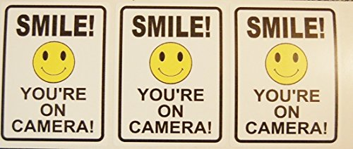 6pcs CCTV Video Surveillance Decal Smile on Camera Security Stickers for Home