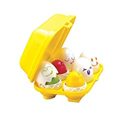 Chirp! chirp! these are not your ordinary eggs you find at the grocery store! crack open the shells to reveal six egg-straw special chicks. Learn shapes by sorting each shell into its own carton spot. Six different face/shell combinations inc...