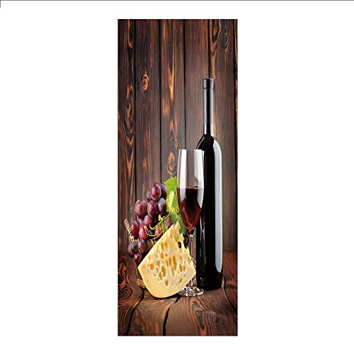 3D Decorative Film Privacy Window Film No Glue,Wine,Red Wine Cabernet Bottle and Glass Cheese and Grapes on Wood Planks Print Decorative,Brown Burgundy Cream,for Home&Office