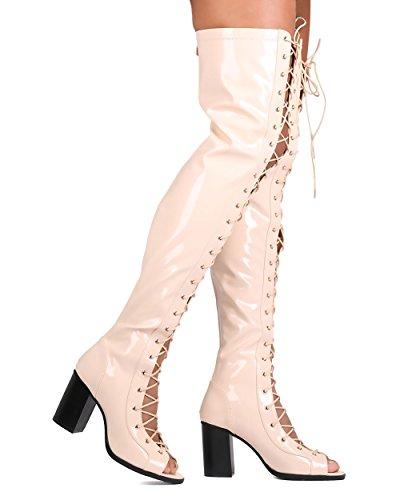 Cape Robbin Fg68 Kvinnor Patent Läder Lår Hög Peep Toe Snörning Chunky Häl Boot - Naken