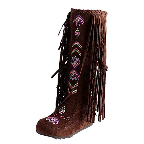 Mysky Fashion Women Nation Style Fringe Flat Heels Long Boots Ladies Retro Embroider Knee High Boots Brown